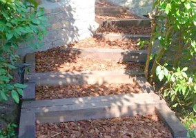 Complete sleeper steps infilled with mulch
