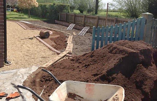 Preparing topsoil for turf